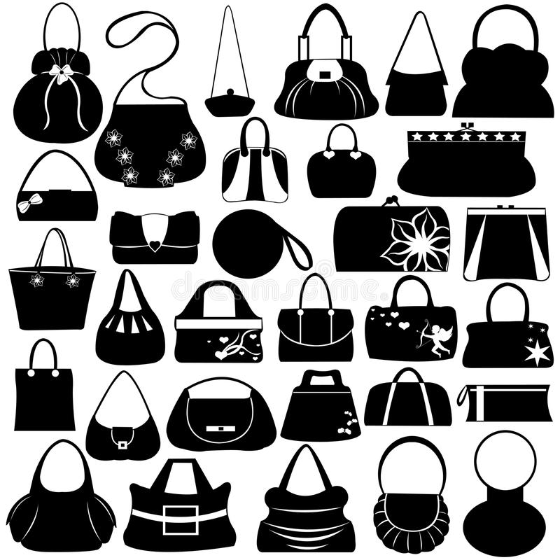 Kvinnlig handväskauppsättning vektor illustrationer