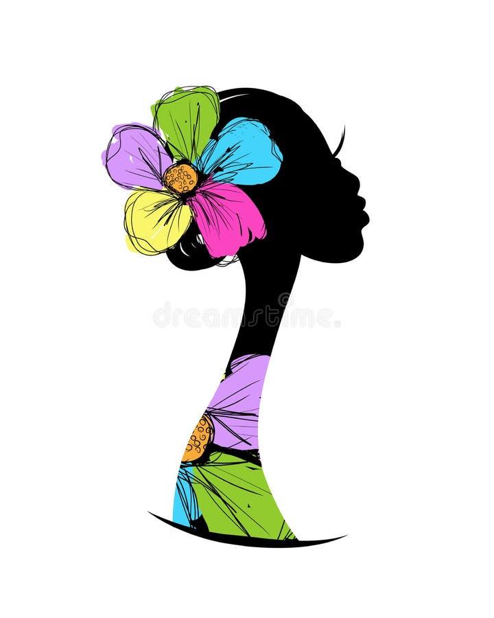 Kvinnlig head kontur för din design stock illustrationer