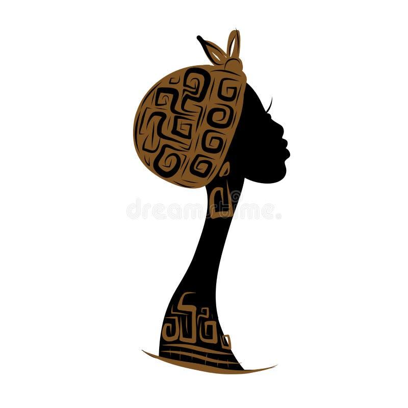 Kvinnlig head kontur för din design, person som tillhör en etnisk minoritet royaltyfri illustrationer