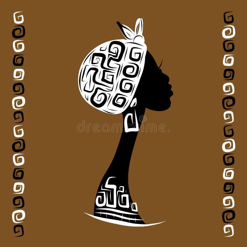 Kvinnlig head kontur för din design, person som tillhör en etnisk minoritet stock illustrationer