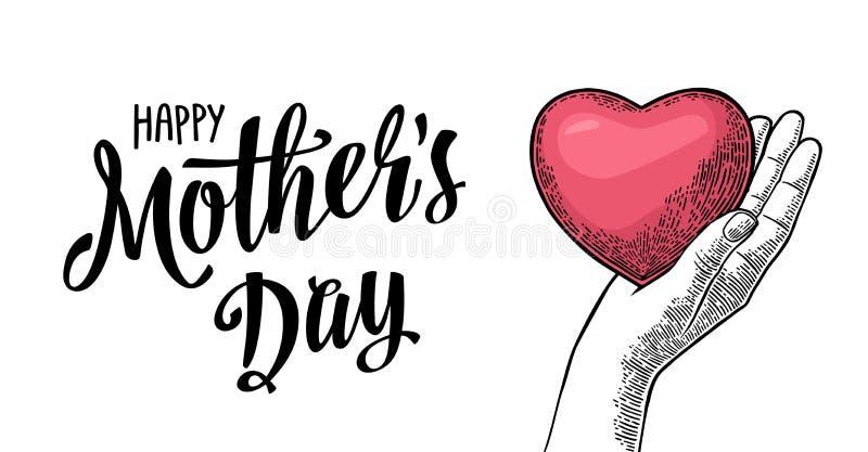 Kvinnlig hjärta för handhållmänniska Lycklig bokstäver för dag för moder` s royaltyfri illustrationer