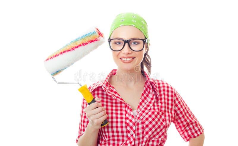 Kvinnlig houseworker arkivbild