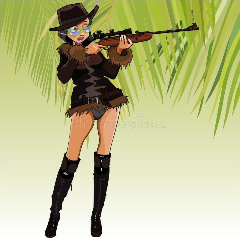 Kvinnlig jägare för tecknad film som siktar med ett gevär för optisk sikt vektor illustrationer