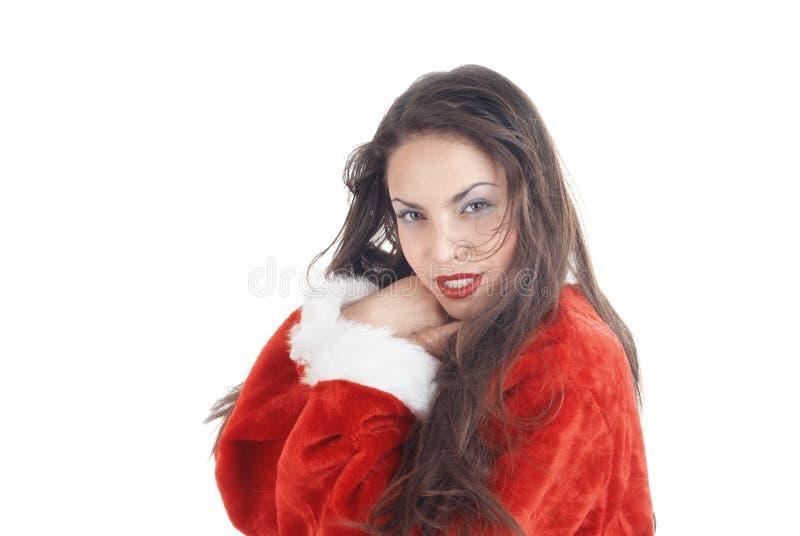 Kvinnlig jultomten arkivfoton