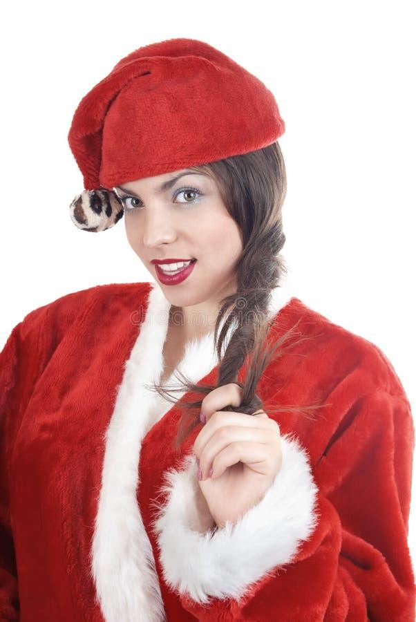 Kvinnlig jultomten arkivbilder