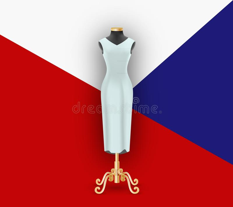 Kvinnlig klänning på skyltdockan Förlöjliga upp för demonstration på geometrisk bakgrundsmodell royaltyfri illustrationer