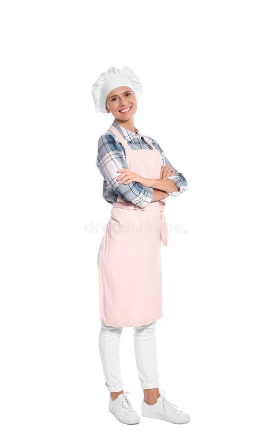 Kvinnlig kock i förkläde royaltyfria bilder