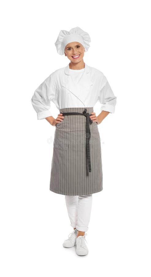 Kvinnlig kock i förkläde fotografering för bildbyråer