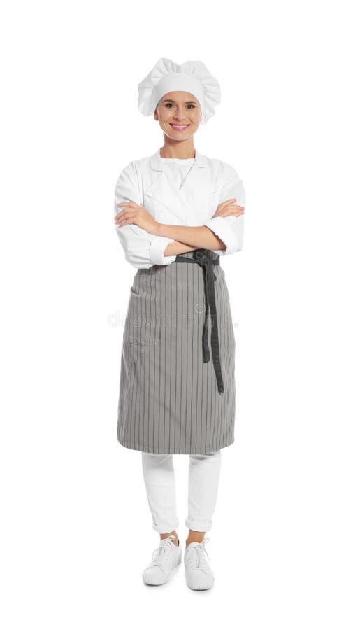 Kvinnlig kock i förkläde royaltyfri bild