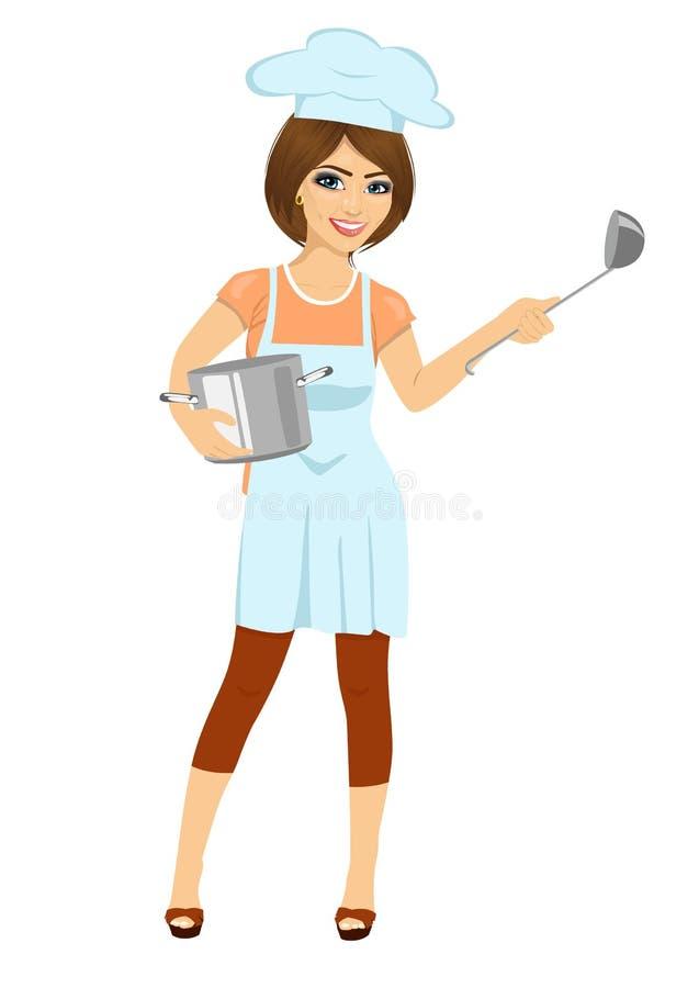 Kvinnlig kock, kock eller bagare med pannan och sleven på vit bakgrund stock illustrationer