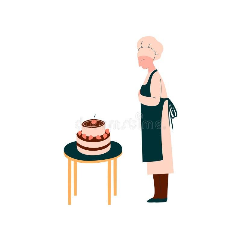 Kvinnlig kock Making och dekorerakaka, yrkesmässig konditor Character i enhetlig vektorillustration stock illustrationer