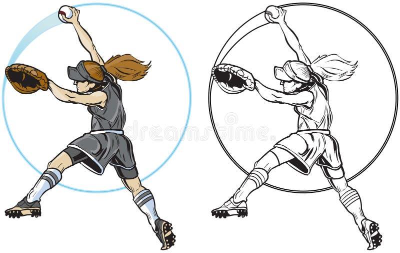 Kvinnlig konst för gem för vektor för breddsteg för softballspelare vektor illustrationer