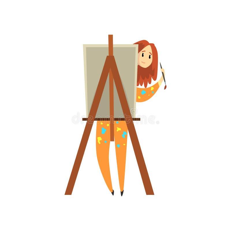 Kvinnlig konstnärmålning på kanfas, begåvat målaretecken, idérik konstnärlig hobby eller yrkevektorillustration stock illustrationer