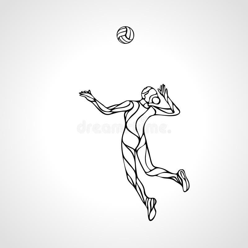Kvinnlig kontur för översikt för volleybollspelare stock illustrationer