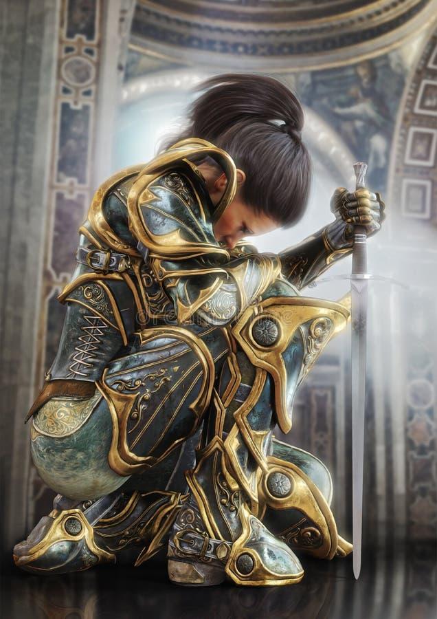 Kvinnlig krigareriddare som knäfaller bärande proudly dekorativ dekorativ harnesk vektor illustrationer