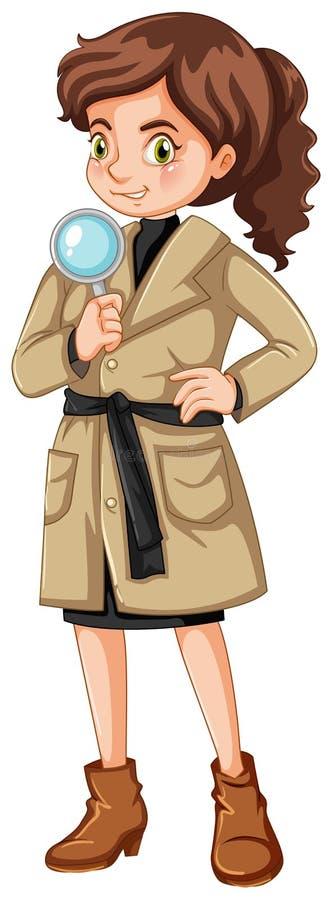 Kvinnlig kriminalare med förstoringsglaset vektor illustrationer