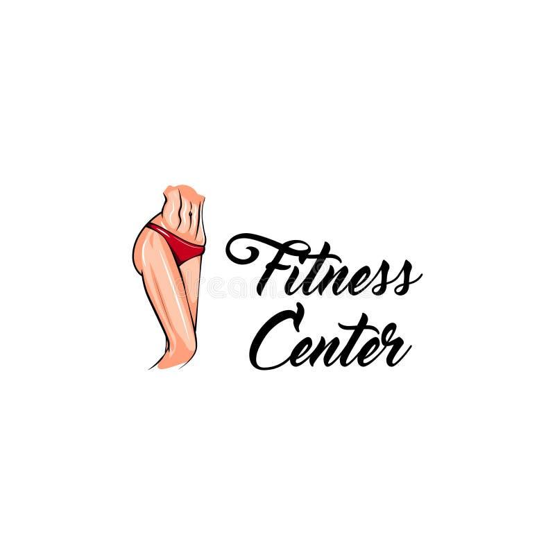 Kvinnlig kropp för sport Etikett för emblem för logo för konditionmitt idrotts- huvuddel Symbol för viktförlust vektor vektor illustrationer