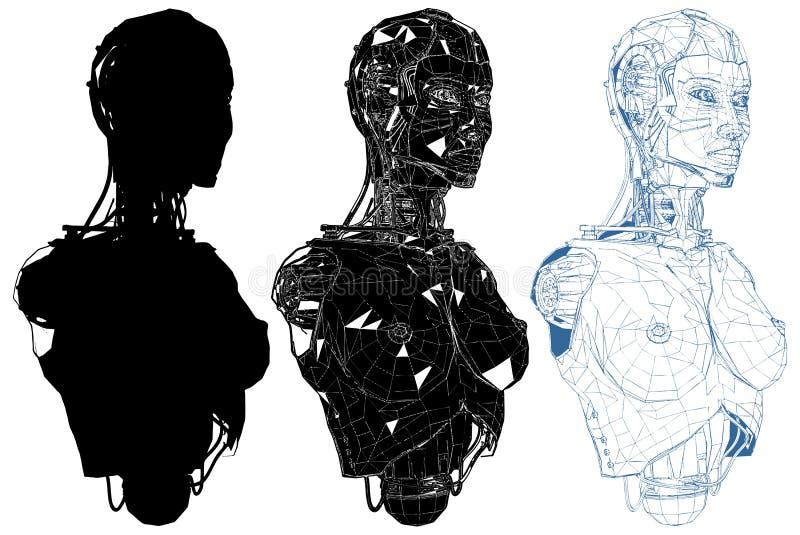 Kvinnlig kvinna Android med den inre teknologivektorn stock illustrationer