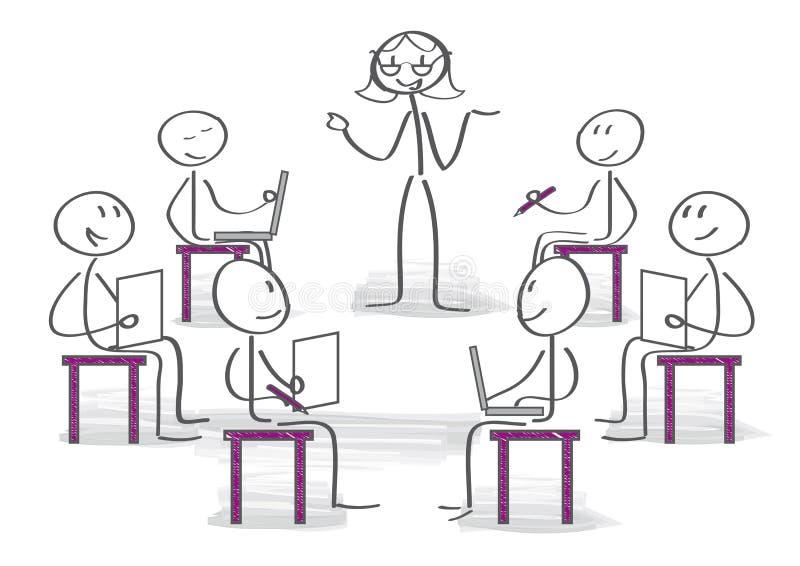 Kvinnlig lagledare som förklarar hennes idéer till kollegor på seminariet royaltyfri illustrationer