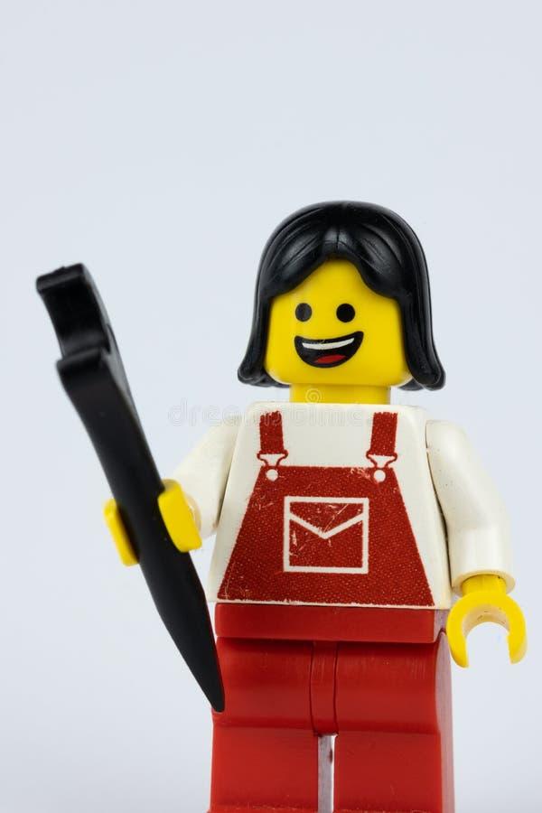 Kvinnlig Lego Mechanic royaltyfria foton