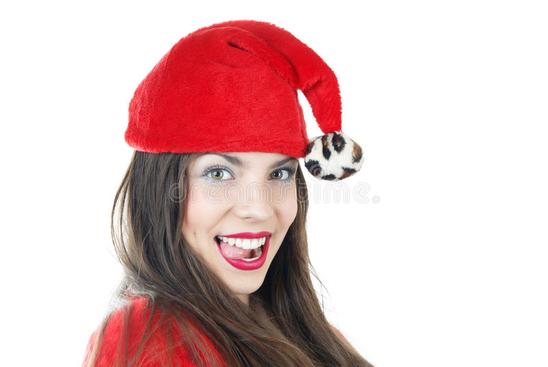kvinnlig lyckliga santa arkivbild