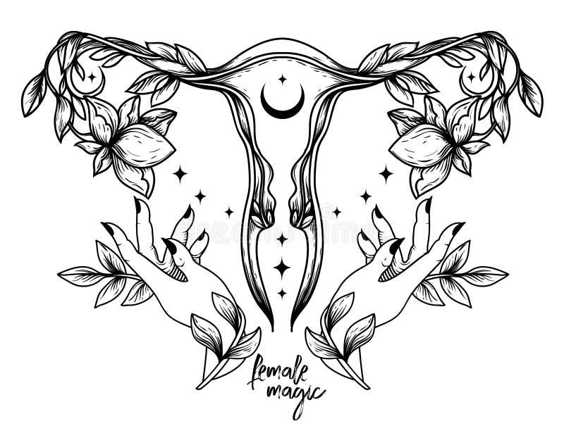 'Kvinnlig magi' affisch med symbol för livmoder, blommor och händer av honkön. stock illustrationer
