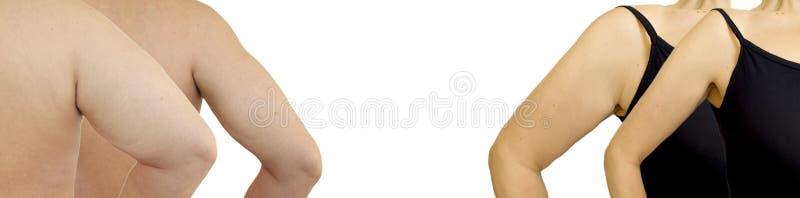 Kvinnlig malehand som före och efter bantar arkivfoto