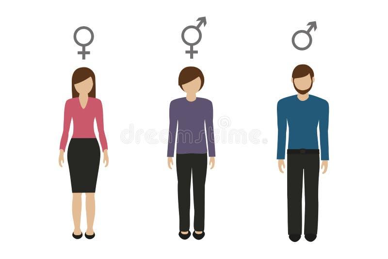Kvinnlig man f?r genustecken och neutralt stock illustrationer