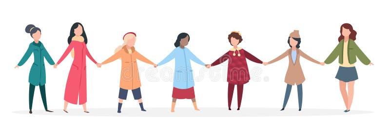 Kvinnlig manifestation Kvinnor som rymmer händer, ungdomarsom tillsammans förenas Lycklig kamratskapvektor royaltyfri illustrationer