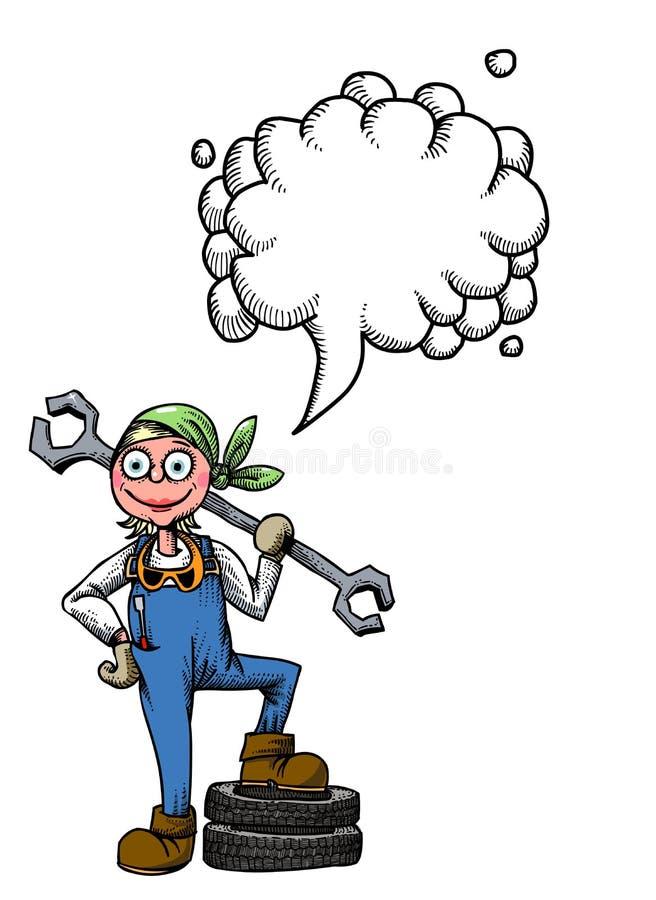 Kvinnlig mechanic-100 vektor illustrationer