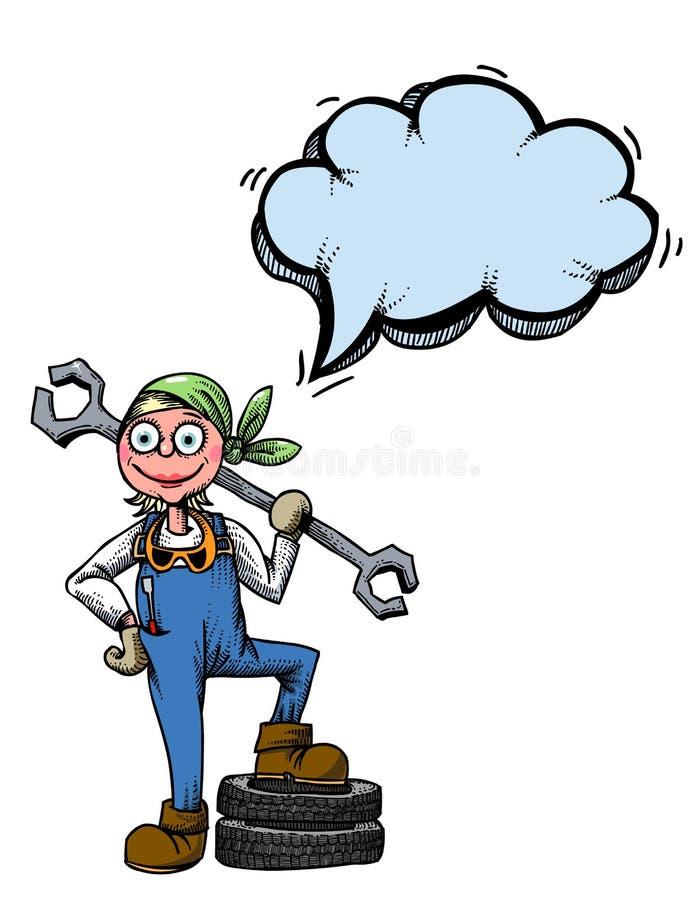 Kvinnlig mechanic-100 royaltyfri illustrationer