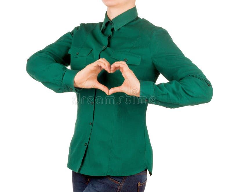 Kvinnlig med den gröna skjortan royaltyfria foton