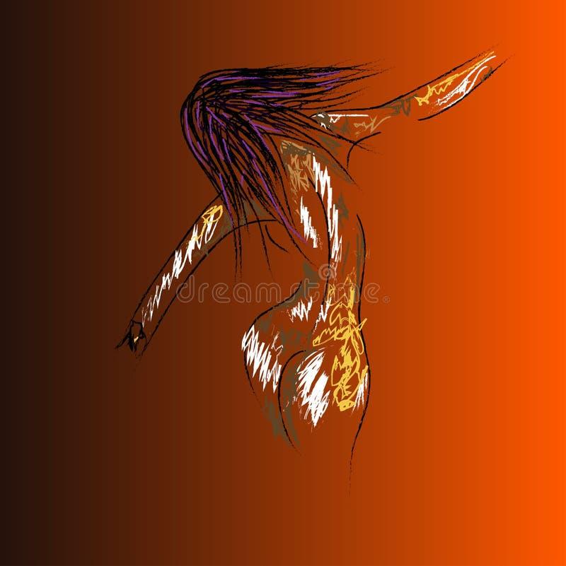 Kvinnlig nakenstudie vektor illustrationer
