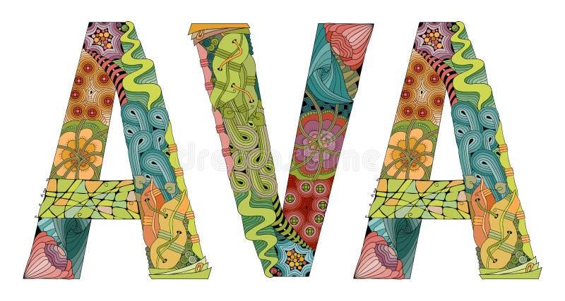 Kvinnlig namnAVA Dekorativt zentangleobjekt för vektor stock illustrationer