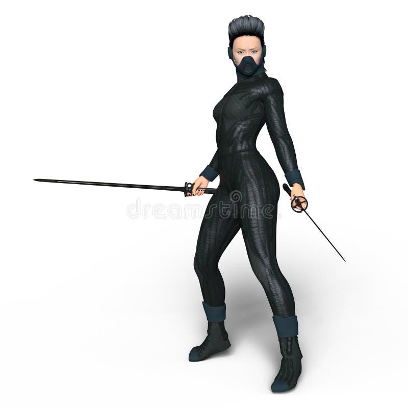 Kvinnlig ninja stock illustrationer
