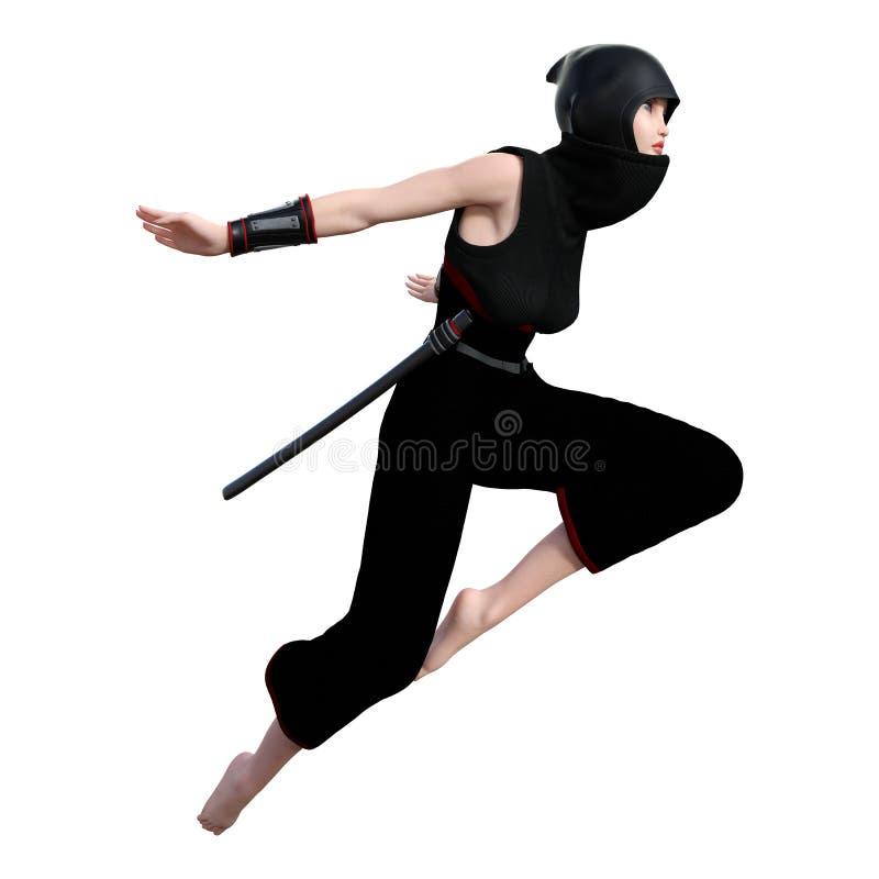 kvinnlig Ninja för tolkning 3D på vit royaltyfri bild