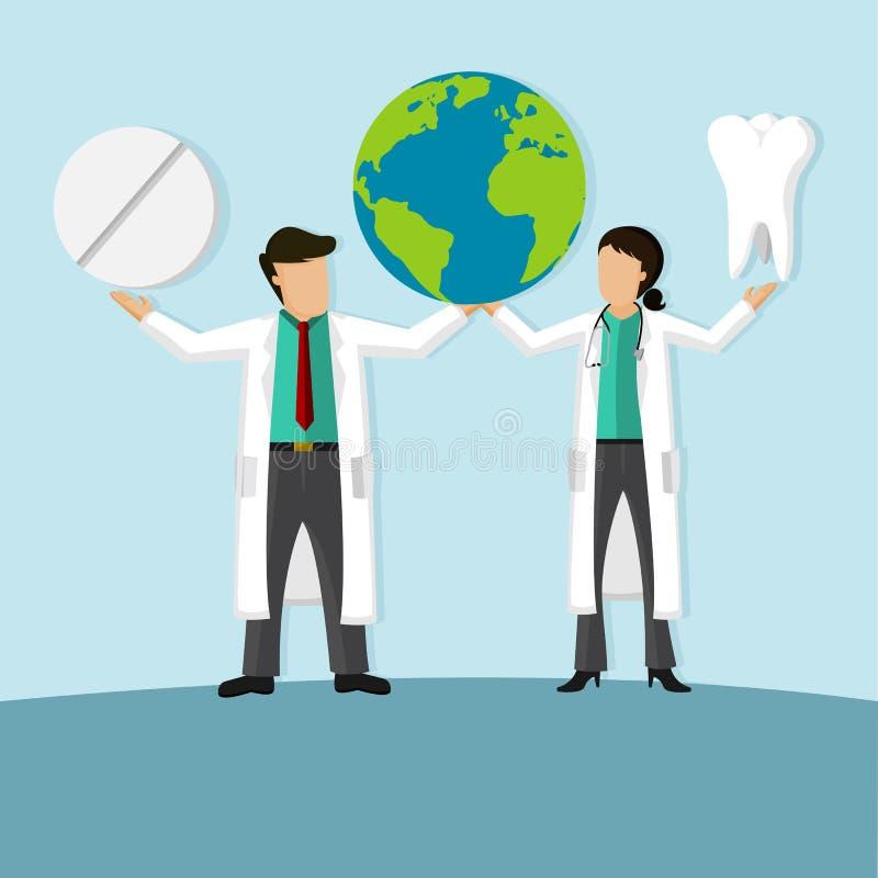 Kvinnlig och mandoktor Holding Globe, medicin och en tandläkare Tooth stock illustrationer