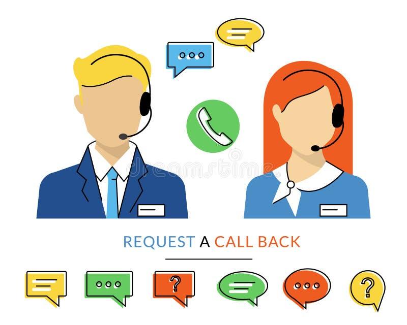 Kvinnlig och manlig call centeroperatör stock illustrationer