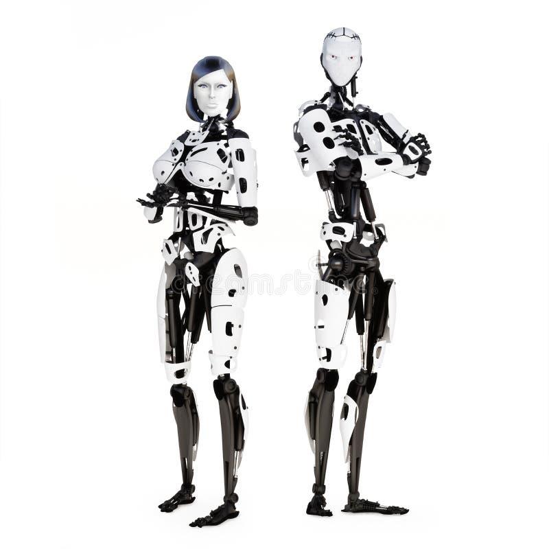 Kvinnlig och manlig cyberrobot stock illustrationer