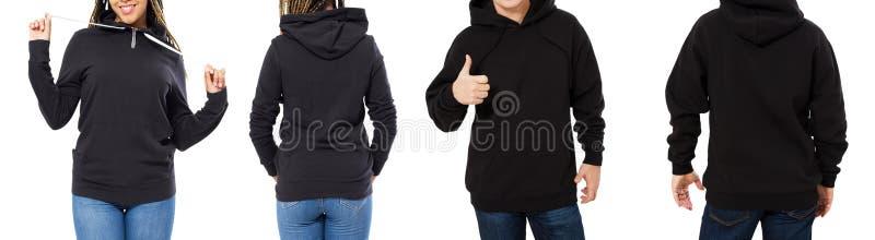 Kvinnlig och manlig hoodieåtlöje upp den isolerad, huvmodellen som är tom för logo, tröjacollage eller uppsättning arkivfoto