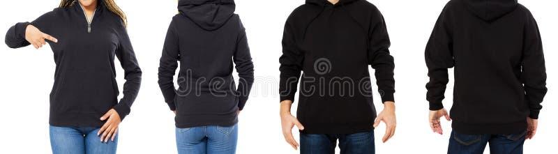 Kvinnlig och manlig hoodieåtlöje upp isolerat - huvuppsättningframdel och tillbaka sikt, flicka och man i tom svart sweater royaltyfri bild