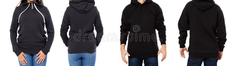 Kvinnlig och manlig hoodieåtlöje upp isolerat - huvuppsättningframdel och tillbaka sikt, flicka och man i tom svart sweater royaltyfria bilder