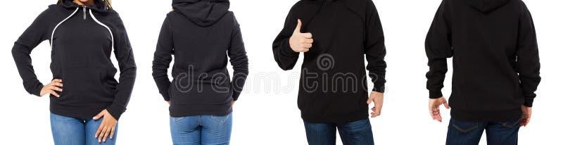 Kvinnlig och manlig hoodieåtlöje upp isolerat - huvuppsättningframdel och tillbaka sikt, flicka och man i tom svart sweater arkivbilder