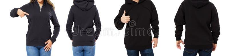 Kvinnlig och manlig hoodieåtlöje upp isolerat - huvuppsättningframdel och tillbaka sikt, flicka och man i tom svart sweater royaltyfria foton