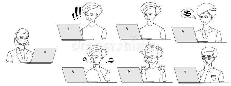 Kvinnlig operatör för kundservice med headse royaltyfri illustrationer
