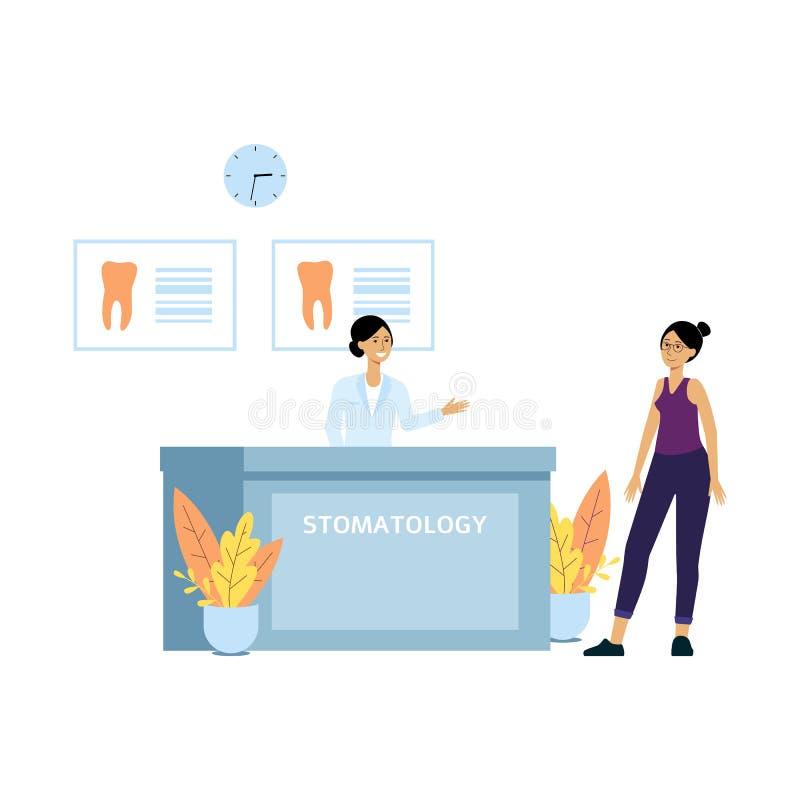 Kvinnlig patient på skrivbordet för tandläkareklinikmottagande Den vänliga receptionisten välkomnar klienten till doktorns tand-  royaltyfri illustrationer