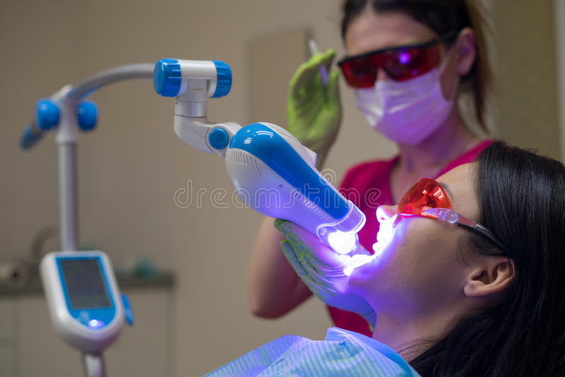 Kvinnlig patient på tandläkaren i kliniken royaltyfri bild