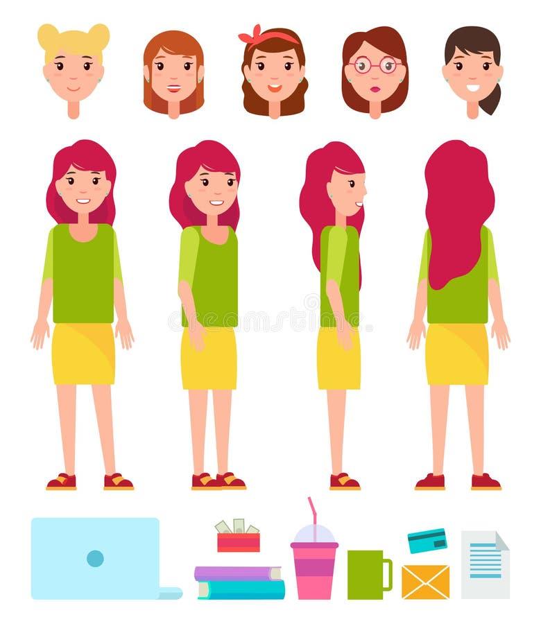 Kvinnlig Person Constructor Vector Illustration vektor illustrationer