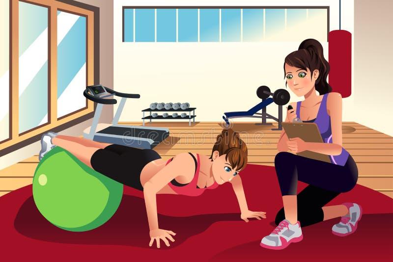 Kvinnlig personlig instruktörutbildningskvinna i idrottshallen royaltyfri illustrationer