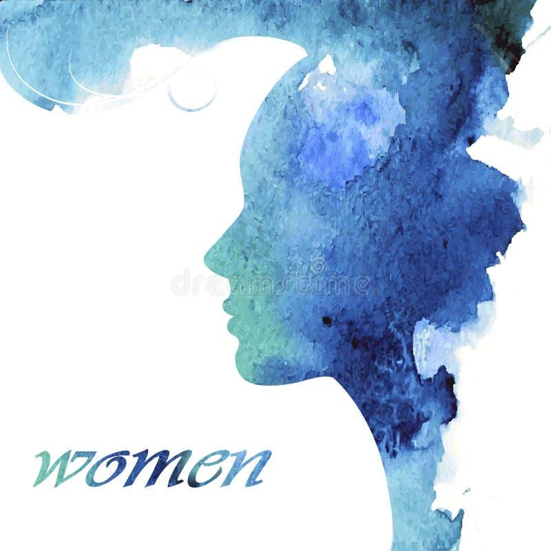 Kvinnlig profil med en stilfull frisyr royaltyfri illustrationer